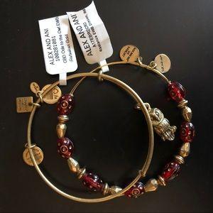 Alex and Ani Owl and Crimson Bracelets